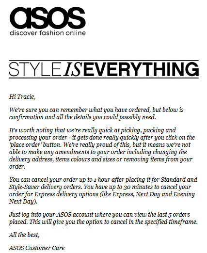 ASOS Confirmation