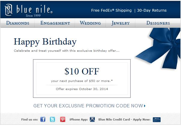 Blue Nile Birthday