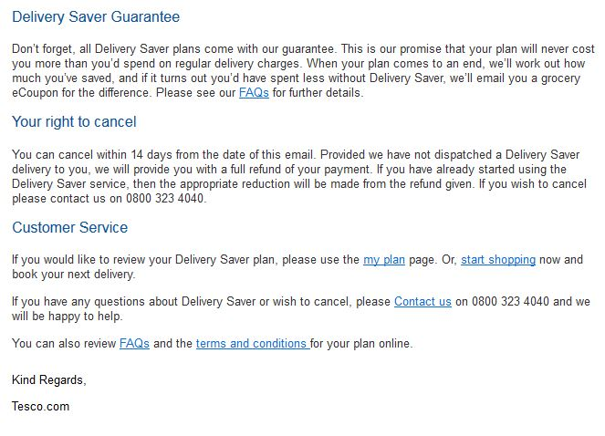 Tesco Confirmation