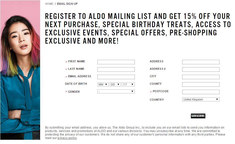 Aldo Email Signup