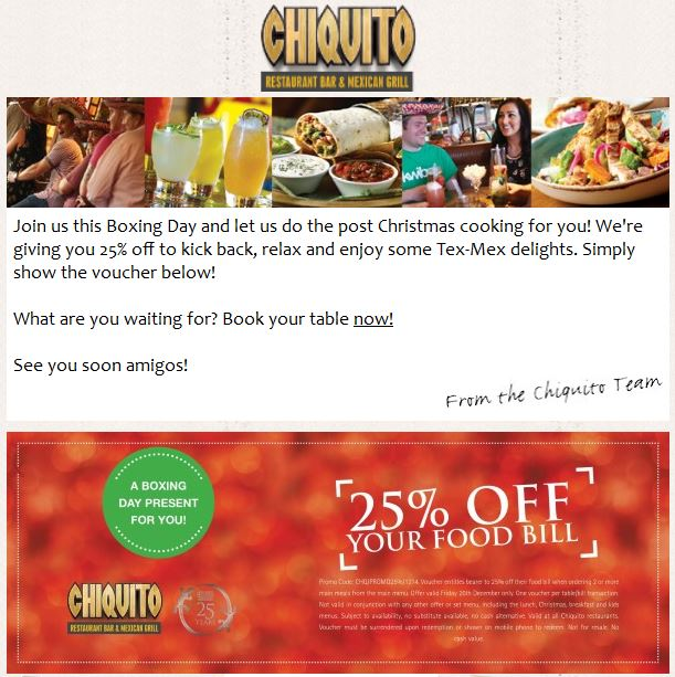 Chiquito Boxing Day