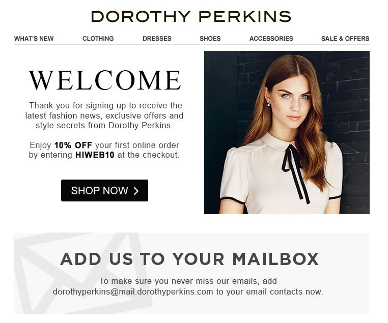 Dorothy Perkins Welcome