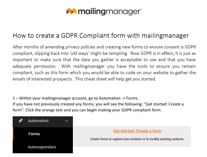 GDPR email Form